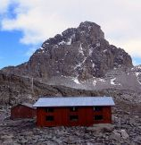 Mt. Kenya climbing to the top hut at Austrian Hut during Mount Kenya Climbing Expeditions packages through Naromoru, Chogoria and Sirimon routes